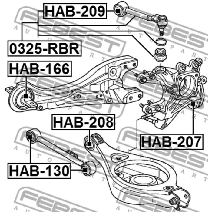 Сайлентблок задней тяги febest hab-209 3434930